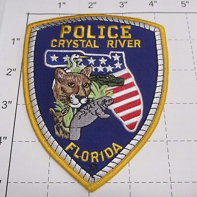 Crystal River Police Dept Crpd Flag State Shape Gator Colorful Florida  Patch