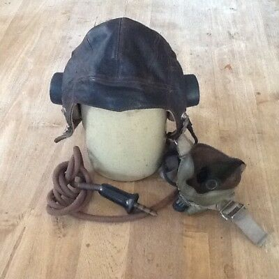 Type cC RAF flying helmet, with wiring loom and black cased Bell jack plus mask.