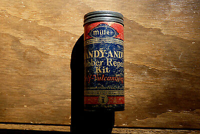 Vintage Miller Handy-Andy Rubber Repair Kit Self Vulcanized Tin W/ Rubber 1920's