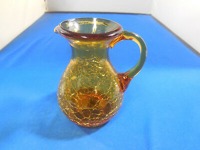 "Small Amber Crackle Blown Glass Creamer/Pitcher 4""Tall"