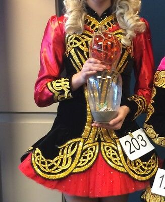 Irish Dance Solo Dress, Red, Black and Gold. Elegant & Gorgeous on Stage!