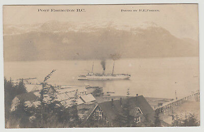 """BC - PORT ESSINGTON, CPR """"Princess May"""", Shoreline and Cannery c.1904-1920s RPPC"""