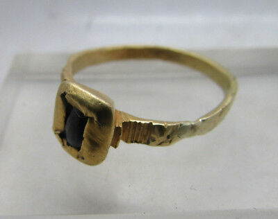 Very rare early English Medieval gold crusaders ring with blue sapphire 1200AD