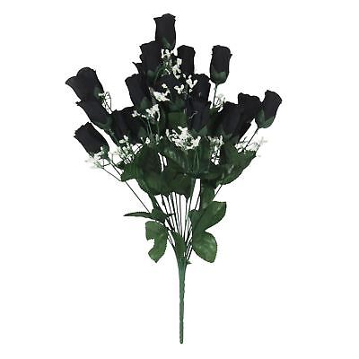 18 Head Rose Bud Bouquet - Black Artificial Silk Flowers Craft Halloween