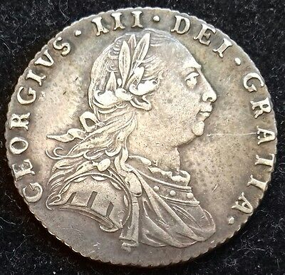 1787 Sixpence. No Hearts. George 111 British Silver Coins.