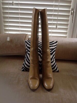 Vintage Bally Beige Leather Pull-on boots size 38