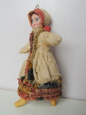 30's Vintage Antique Soviet USSR Paper Mache Christmas Doll Hand Made Girl #