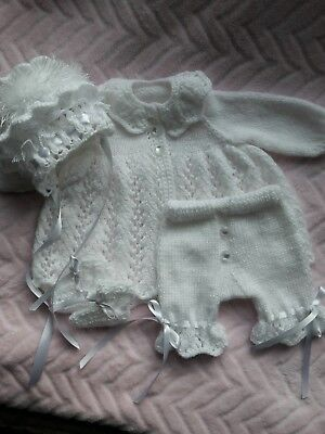 "Hand knitted set for a 13/14"" reborn doll"
