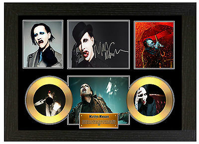 Marilyn Manson - A3 Signed Framed Gold Vinyl Collectors Cd Display Picture