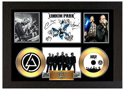 Linkin Park - A3 Signed Framed Gold  Collectors Cd Display Picture