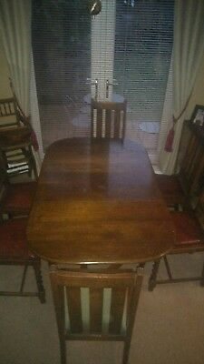 oak barley twist table and 6 chairs 1930 / 1940 antique vintage