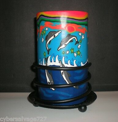 Dolphin Theme Candle Holder Votive Tea Light Small Pillar Glass w Stand