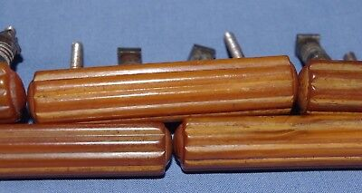 Superb Set Of 5 Vintage Art Deco Butterscotch Amber Bakelite Door Handles