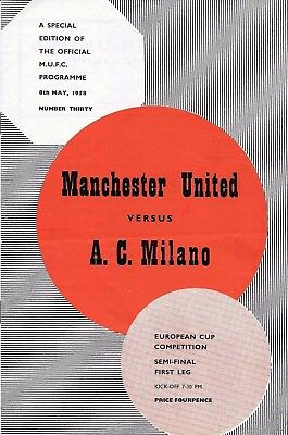 Manchester United v AC Milan European Cup Semi Final 8 May 1958 Special Edition