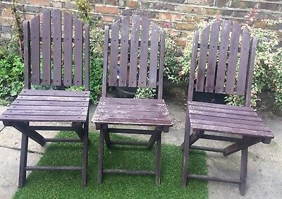 3 Vintage Shabby Chic Wooden Folding Garden Chairs