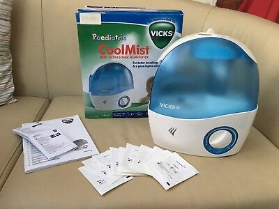 Vicks Paediatric Cool Mist Ultrasonic Humidifier Vh5000 In Box With 10x Pads