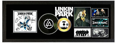 Linkin Park  - Large Signed Framed Gold And 7 Inch Vinyl Printed Picture Cd