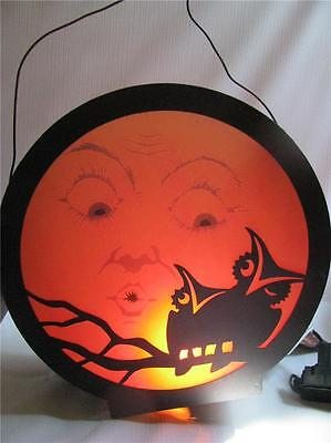 Halloween Lantern Light   Owls  Silhouetted  on Moon with Cord Bethany Lowe