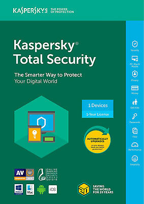 Kaspersky Total Security 2018 1 PC / User / Devices / 1 Year / Antivirus /