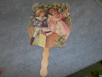 Advertising Hand Held Fan - Boy And Girl Blowing Bubbles