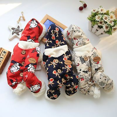Christmas Dog Jumpsuit Warm Pet Clothes Winter Padded Jacket Cat Yorkie Costume