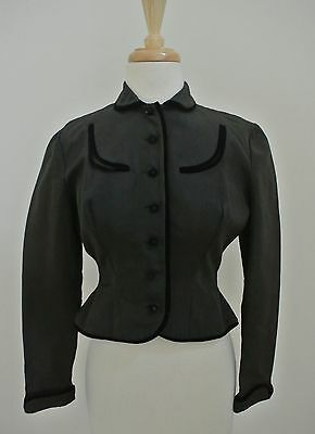Vtg 40s Tailored faille jacket blazer Brown w/ black velvet trim Gary's CA