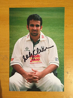 1990s Zaheer Khan India Test Player Signed Photograph vgc