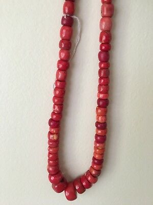 Large Red Coral Beaded Necklace 270gr