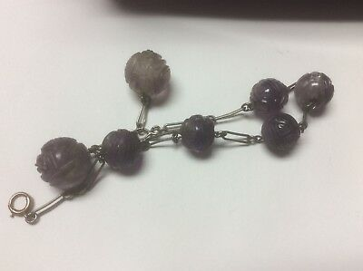 ANTIQUE CHINESE CARVED PURPLE JADE AMETHYST BEADS 9 mm to 12 mm