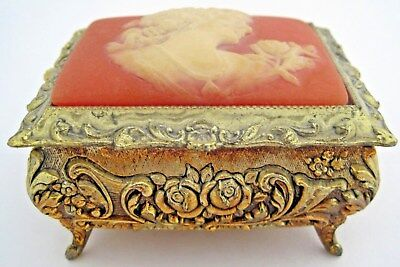 Vintage Gold Tone Metal Cameo Top Music Box Japan Tested Working