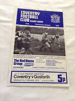 classic rugby union programme coventry v gosforth from 9th february 1974