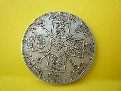 Victorian Silver Coin Double Florin Dated 1890