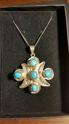 Stunning antique hallmarked silver necklace filigree and turquoise heavy pendant