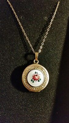 vintage rolled gold locket and chain with guilloche enamel