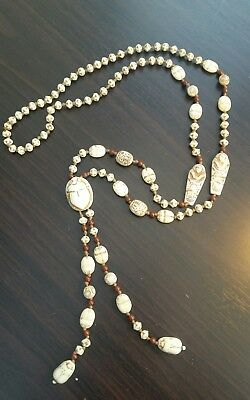 Antique /vintage czech nieger scarab  necklace glass beads