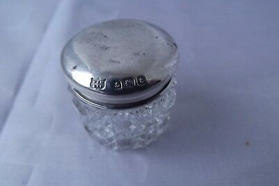 solid silver dressing table jar glass
