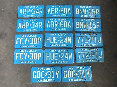 7 Pairs of Vintage NEW JERSEY NJ License Plates Garden State, Blue / Beige