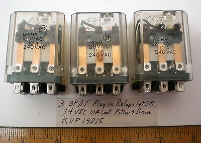 3 Plug-In Relays 3PDT, 24V DC Coils 10 Amps, P&B # KUP14D15, Lot 109 Made in USA