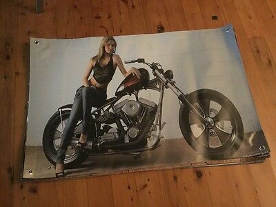 mancave 3x2ft vinyl print man cave pool room Harley Davidson biker garage art