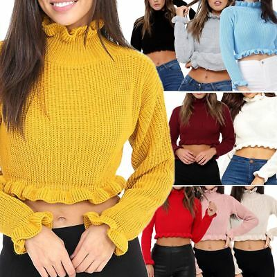 Womens Plain Knitted Chunky Ruffle Frill Cropped Jumper Top Sweater