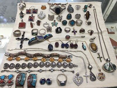 HUGE Estate Sterling Silver Lot W/ Stones Scrap Resell Wholesale NR 538.8 Grams