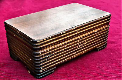 Vintage Rectangular Wooden Musical Jewelry Box