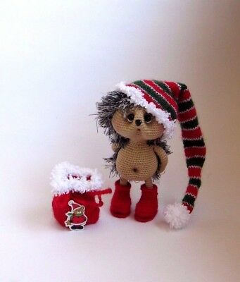 Crochet Hedgehog Holiday Christmas Handmade gift 6 2/3 in