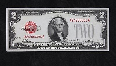 $2 1928 AU large red seal US Note A24908306A two dollar plain series, FREE SHIP