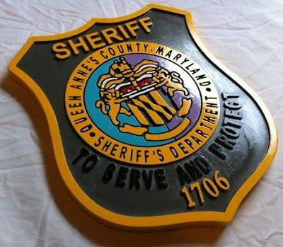 Police Department Queen Anne's County routed wood  patch plaque sign