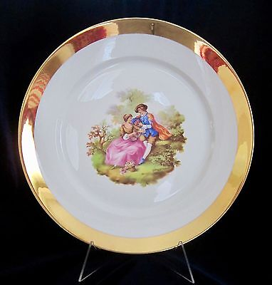 Porzellanmalarei Parbus Large Plate - Courting Couple - Gold - Bavaria - 12 in.