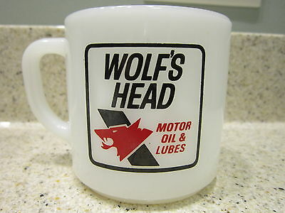 WOLF'S HEAD Milk Glass Coffee Mug Cup Advertising Collectible Oil Grease Gas