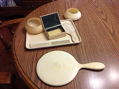 Vintage Celluloid Dress Set Vanity Mirrors Comb Tray Jewelry  Box 7 Pieces