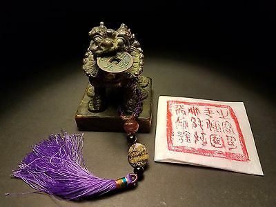Rare Large Fine Antique 12 Chinese Characts Carved Bronze Seal Stamp Coin Tassel