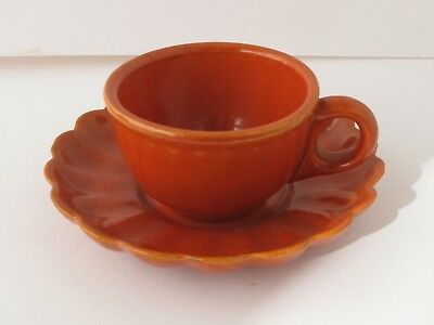 Catalina Island Pottery Orange Cup with Ruffled Saucer